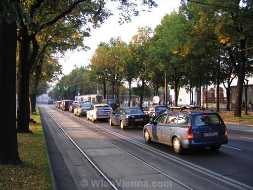 Cars on Burgring in Vienna Inner City