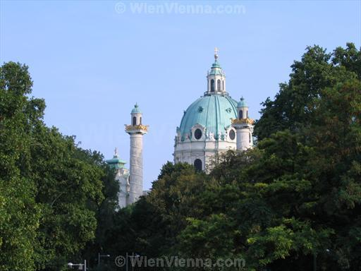 Karlskirche behind Trees at Karlsplatz, Vienna