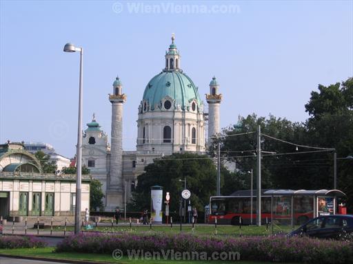 Karlskirche and Karlsplatz Resselpark Bus Stop