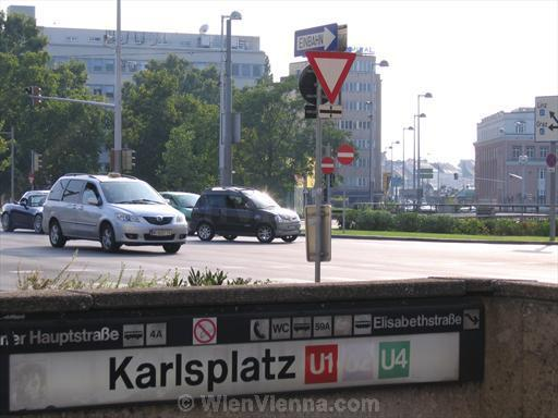 Karlsplatz: Cars and Metro Station Entrance