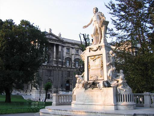 Mozart Statue in Vienna Burggarten and Hofburg