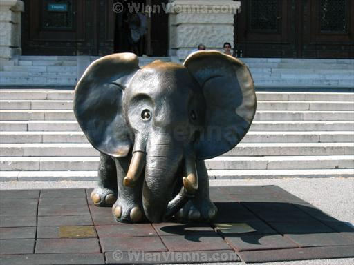 Elephant in front of Naturhistorisches Museum in Vienna